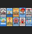 amusement park posters funfair rides carousels vector image