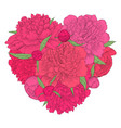beautiful heart decorated flowers peony vector image vector image