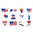 big set of american independence day icon happy 4 vector image vector image