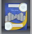 blue business flyer or brochure vector image vector image
