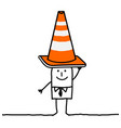 cartoon man with construction sign vector image vector image