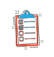 cartoon to do list icon in comic style checklist vector image vector image
