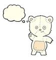 cartoon waving polar bear with thought bubble vector image
