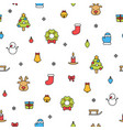 colorful christmas items isolated on white vector image vector image