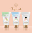 cosmetic clay packaging concept tubes girls vector image