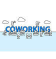 coworking text work office with people vector image