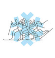 cross-country skiing competition line art vector image vector image