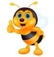 Cute bee cartoon thumb up vector image vector image