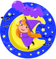 Cute Halloween witch flying with bat balloon vector image