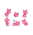 cute piglets collection cute funny pink pigs vector image