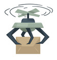 drone delivering boxes automated delivery system vector image vector image