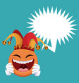 emoticon smiling jester hat bubble speech vector image