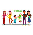 enthusiastic multiethnic students adults vector image vector image