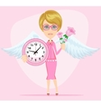 Female angel holding a pink watchs vector image vector image