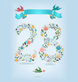 floral number twenty eight with ribbon and birds vector image vector image