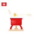 fondue red jar with melted cheese and forks vector image vector image