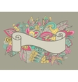 Hand drawn ribbon on the floral doole background vector image