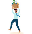 happy employee male holding box with stationery vector image