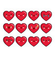 heart emoticons set smiley icons set vector image vector image