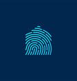 house home finger print fingerprint lock secure vector image