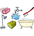 hygiene objects cartoon set vector image