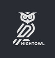 linear owl logo or design template on a dark vector image vector image