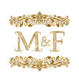 m and f vintage initials logo symbol letters vector image vector image