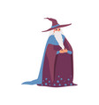 magic old man medieval character wearing robe and vector image vector image