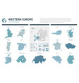 maps set high detailed 13 maps of western europe vector image