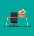 office chair and table box with office itmes vector image vector image