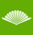 opened oriental fan icon green vector image vector image