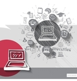 Paper and hand drawn laptop emblem with icons vector image vector image