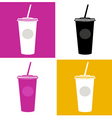 plastic cup glass icons vector image