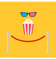 Red rope popcorn 3D glasses flat vector image vector image