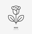 rose line icon pictogram single flower vector image vector image