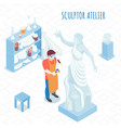 sculptor artist isometric composition vector image vector image