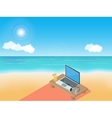 Sea beach laptop and headphones vector image vector image