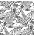 Seamless pattern graphic swimming turtles in