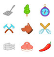 selection of meat icons set cartoon style vector image vector image
