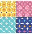 Set of four blue yellow pink geometric patterns vector image