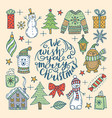 set of isolated happy christmas icons vector image vector image
