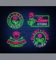 set of neon logos flower shop plants florist vector image