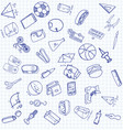 set of secondary school icons in doodle style vector image