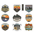 set of vintage hand drawn travel badges camping vector image vector image