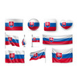 set slovakia flags banners banners symbols vector image vector image
