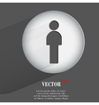 silhouette of a man Flat modern web button with vector image