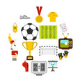 soccer football icons set in flat style vector image vector image