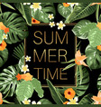 summer time banner whith tropical flowers vector image
