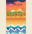 sunrise tropical island with palms vector image vector image