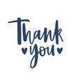 thank you word handwritten with cursive vector image vector image